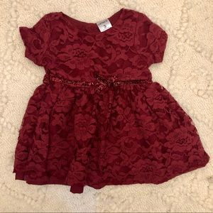 Carters Holiday Maroon Lace Baby Girl Dress